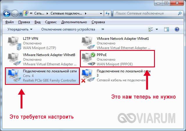 Список подключений в Панели управления Windows
